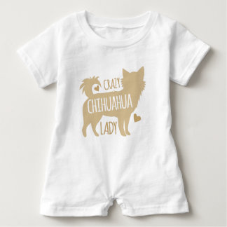crazy chihuahua lady baby romper