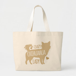 crazy chihuahua lady large tote bag