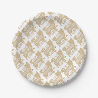 crazy chihuahua lady paper plate