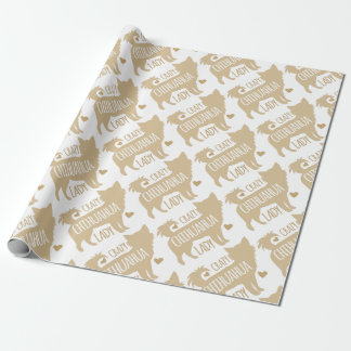 crazy chihuahua lady wrapping paper