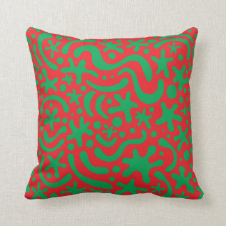 Crazy Christmas Blob & Squiggle Pattern Pillow