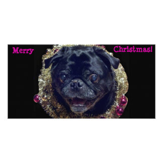 Crazy Christmas Pug photo card