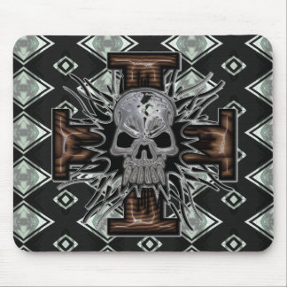 Crazy Chrome Skull with Wooden 3D Beveled Cross al Mouse Pad