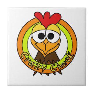 Crazy Chuck Chicken Head Ceramic Tile