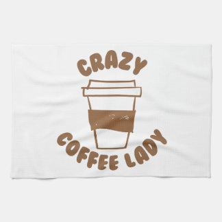 crazy coffee lady kitchen towel