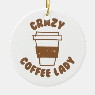 crazy coffee lady round ceramic ornament