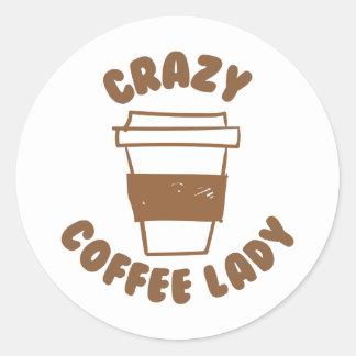 crazy coffee lady round sticker