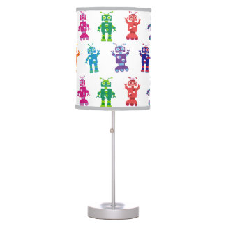 Crazy Colorful Robots Pattern Kids Table Lamp