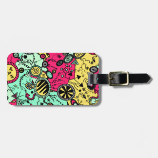 Crazy Colour Doodle Luggage Tag