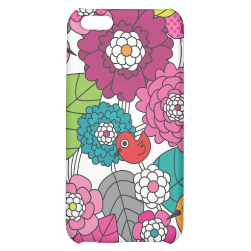 Crazy colourfull flowers and birds pattern iphone cover for iPhone 5C