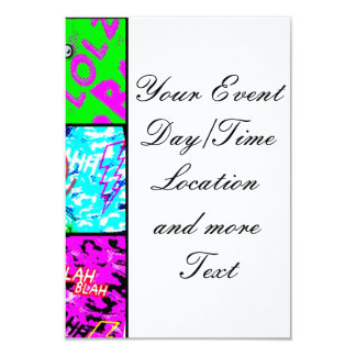 crazy comic 3.5x5 paper invitation card