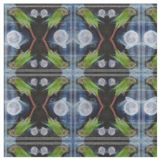 Crazy conures under the full moon fabric
