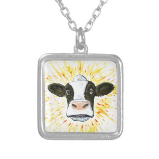 Crazy Cow Face Silver Plated Necklace
