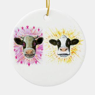 Crazy Cows Ceramic Ornament