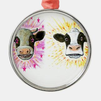 Crazy Cows Metal Ornament