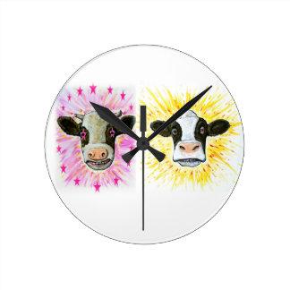 Crazy Cows Round Clock