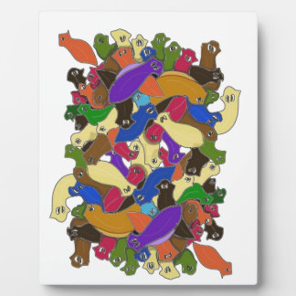 Crazy Cross Eyed Planarian Worms Design 2 Plaque