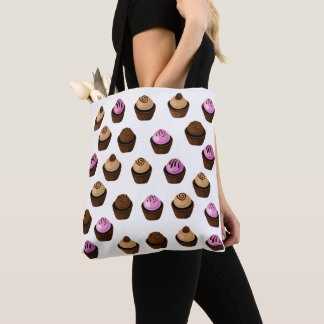 Crazy Cupcakes Pretty Pink and Brown Tote Bag