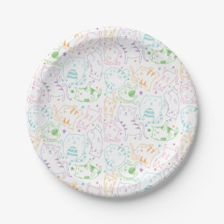 Crazy Cute Cats Colorful Cartoon Birthday Party 7 Inch Paper Plate