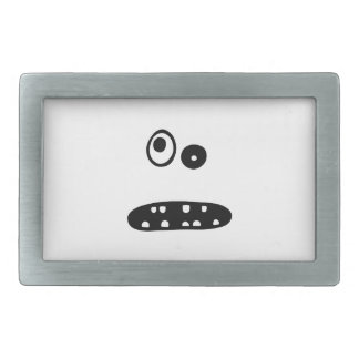 Crazy cute face illustration belt buckle