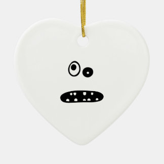Crazy cute face illustration ceramic ornament