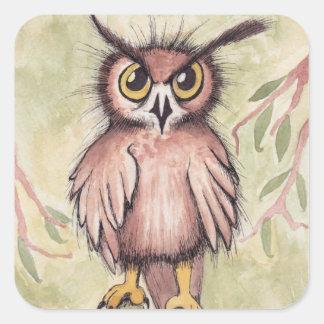 Crazy Cute Owl Square Sticker