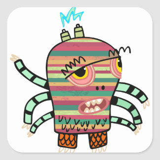 Crazy Cute Six-Armed Panic Monster Square Sticker