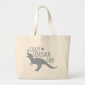 Crazy Dinosaur Lady Large Tote Bag