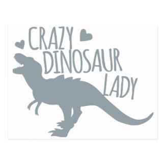 Crazy Dinosaur Lady Postcard