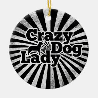 Crazy dog Lady Ceramic Ornament