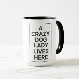CRAZY DOG LADY MUG (Black on White)
