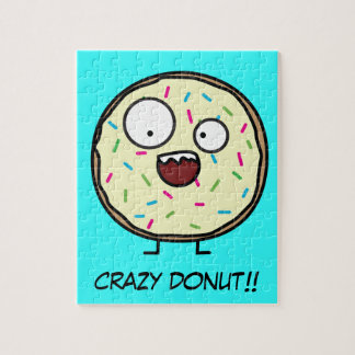 Crazy Donut sprinkles vanilla icing sweet dessert Jigsaw Puzzle