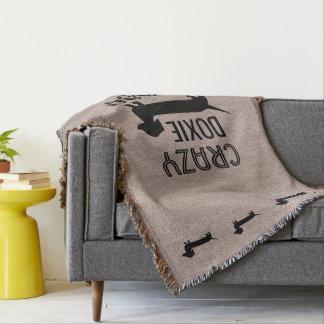 Crazy Doxie Daddie Funny Dachshund Owner Throw Blanket