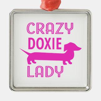 Crazy Doxie Lady Funny Dachshund Mama Silver-Colored Square Ornament