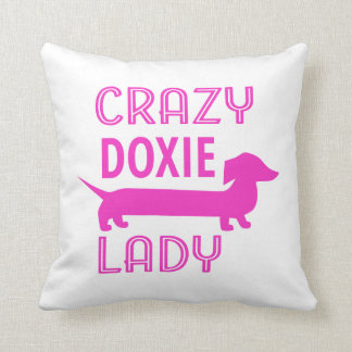 Crazy Doxie Lady Funny Dachshund Mama Throw Pillow