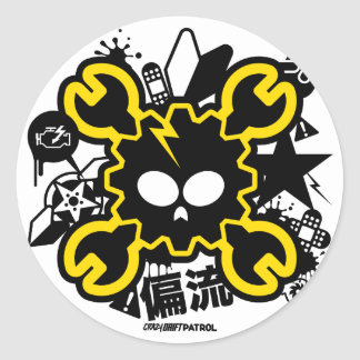 Crazy Drift Patrol - Drift Skull (yellow) Classic Round Sticker