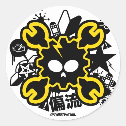 Crazy Drift Patrol - Drift Skull (yellow) Stickers