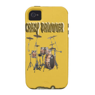 Crazy drummer With Background Vibe iPhone 4 Cases