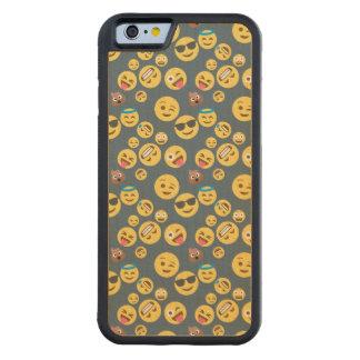 Crazy Emoji Pattern (grey background) Carved Maple iPhone 6 Bumper Case