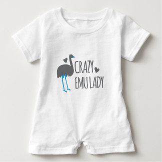 crazy emu lady baby romper
