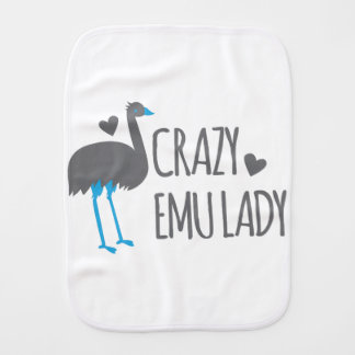 crazy emu lady burp cloth