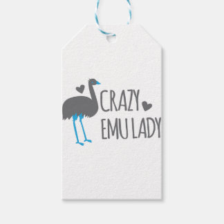 crazy emu lady gift tags