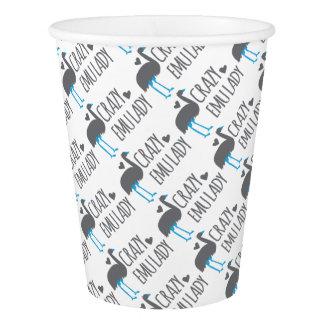 crazy emu lady paper cup