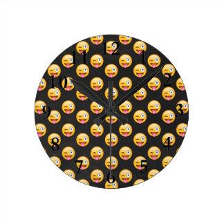 Crazy Face Emoji Round Clock