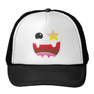 crazy face with star eye mesh hat