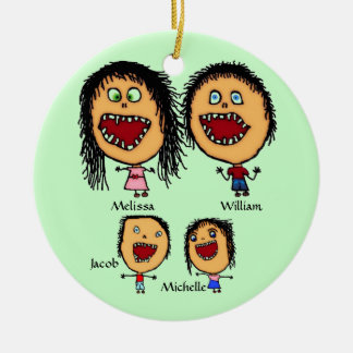 Crazy Family of Parents with Two Children Cartoon Ceramic Ornament