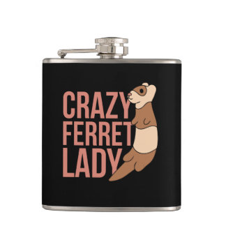 crazy ferret lady hip flask