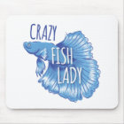 crazy fish lady new fighting fish mouse pad