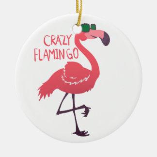 Crazy flamingo ceramic ornament