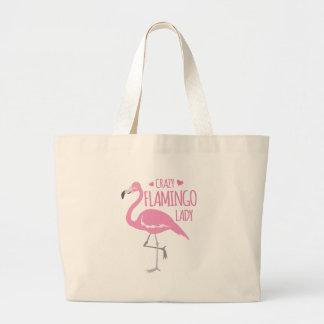 Crazy Flamingo lady Large Tote Bag